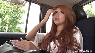 Chestnut haired Jap nympho with withal heavy makeup Haru Sakuraba gives BJ