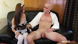 Asian housewife in down in the mouth uniform Karen gives her head with an increment of gets fucked