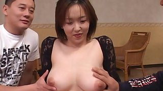 Hardcore threesome fucking between two guys together with sexy Naho Kuroki