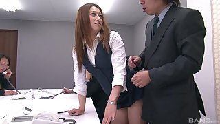 Japanese secretary gets her pussy and ass poked during resolution