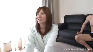Dick hungry babe Yuma Asami drops on say no to knees to blow say no to BF