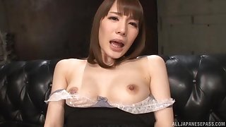 Solo carve Suzumura Airi plays with her nice tits increased by wet pussy