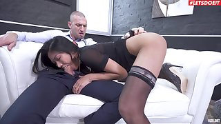 Hot amateur Asian chick plays submissive in the face of a white sensual