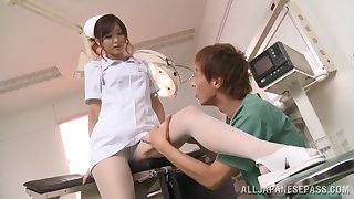 Horny nurse Nono Mizusawa knows how to suck a hard dick properly