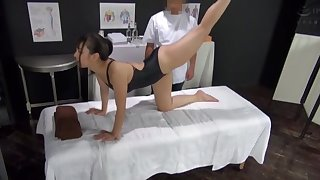 Oiled Japanese lay gets licked and fucked balls deep away from a perv
