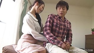 Kinky Japanese chick pleases a side apart from jerking off his gumshoe