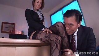 Foxy Japanese chick Akari Asahina enjoys getting fucked in along to office