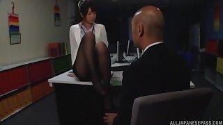 Naughty Nanami Kawakami loves jerking a cock with will not hear of snug wings