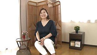 Chubby Japanese chick Hayama Nobuko spreads her legs to tease