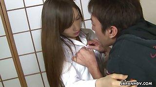 Nasty Japanese girl Hitomi Tsukishiro gets her muff rammed and creampied