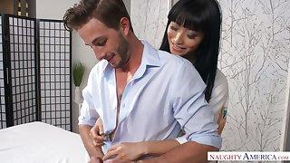 Oiled up Japanese masseuse Ayumu Kase gives and unforgettable nuru massage