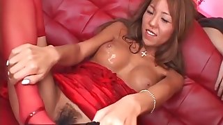 Gangbanged Japanese slut gets big heart of hearts massaged with oil