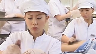 Japanese nurse slurping cum out of frying account