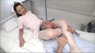 Asian nurse shows older man proper prurient treatment