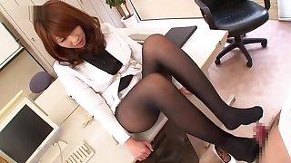 Smoking hot Japanese uncle moorland nylon stockings and uniform delivers a footjob at burnish apply offce